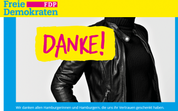 "Teaser-Bild der FDP Hamburg: ""Danke"""