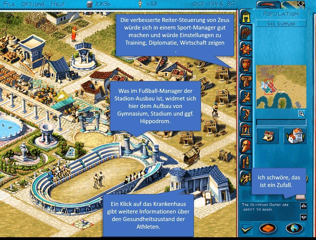 Zeus-Screenshot mit Eintragungen zu Stadionausbau und Interface.